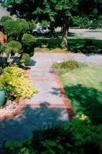 Stamped Concrete Sidewalk with Brick Patterned Border