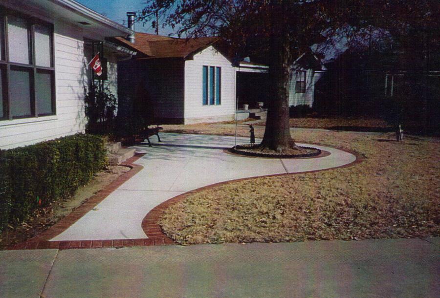 Concrete Sidewalk Entry with Brick Border