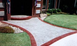Patterned Concrete Entry with Brick Border