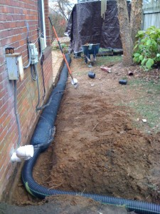 Excavation for French Drain in Mustang, OK