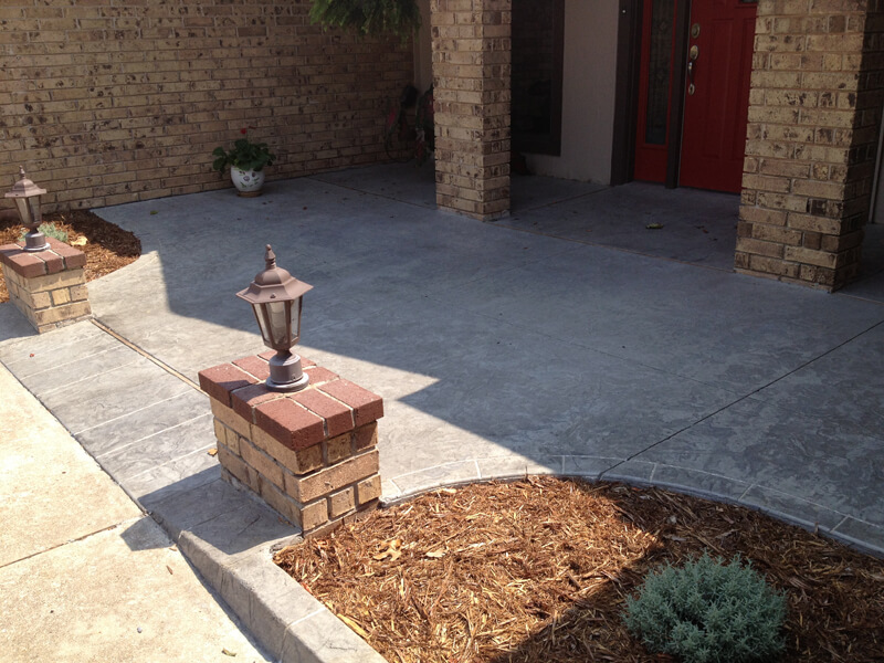 Decorative Concrete Front Patio in Oklahoma City