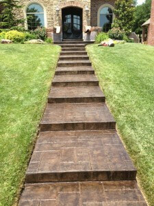 Stamped and Stained Concrete Steps