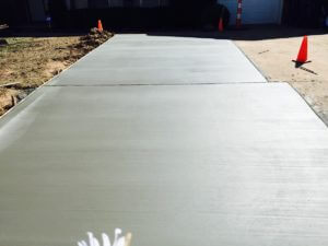 Freshly Poured Concrete Driveway Extension
